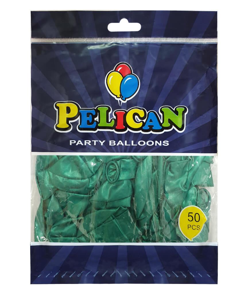 Шарики Pelican 10' (26 см), перламутр зеленый бутылочный 1050-712, 50шт/уп