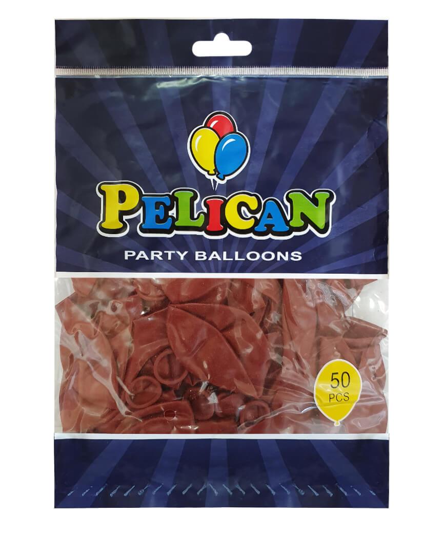 Шарики Pelican 10' (26 см), пастель бордовый 1050-801, 50шт/уп