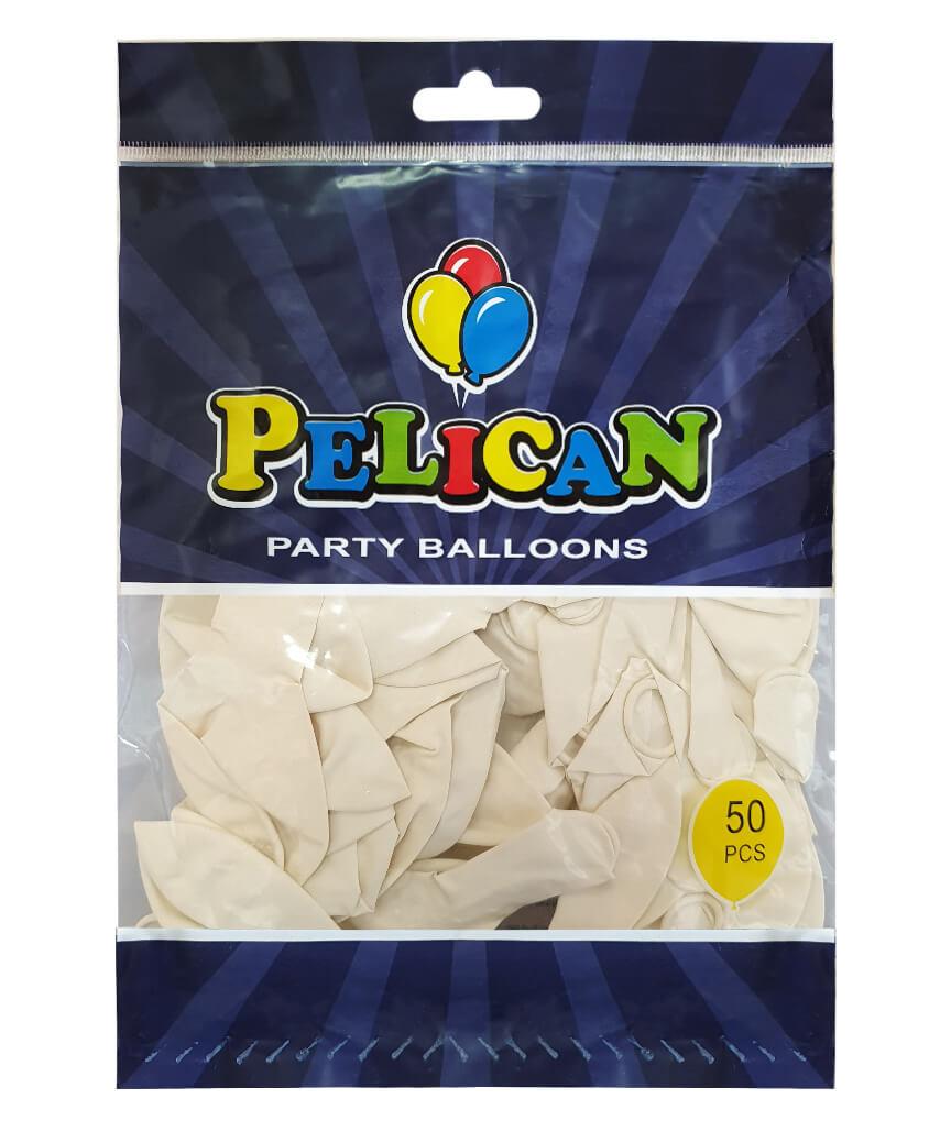 Шарики Pelican 10' (26 см), пастель белый 1050-822, 50шт/уп