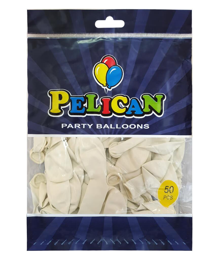 Шарики Pelican 10' (26 см), пастель белый2 1050-844, 50шт/уп