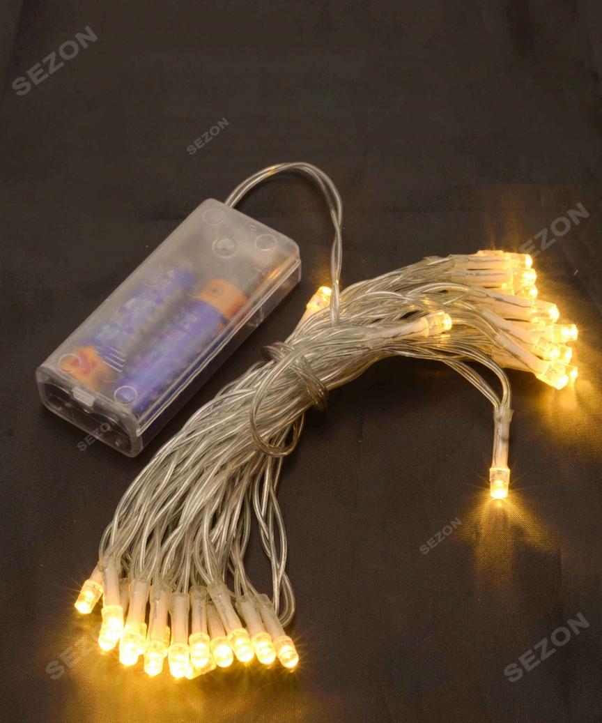 НА БАТАРЕЙКАХ 30 LED, 3м, теплий білий