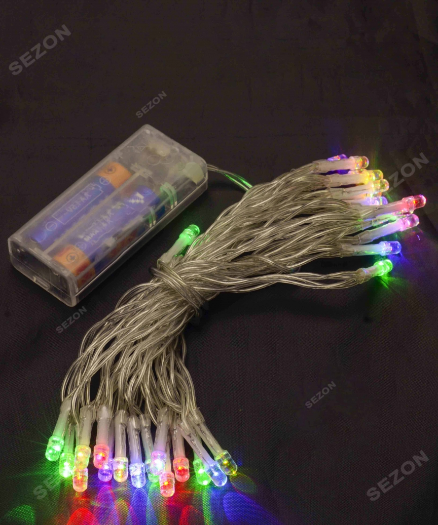 НА БАТАРЕЙКАХ 30 LED, 3м, мульті