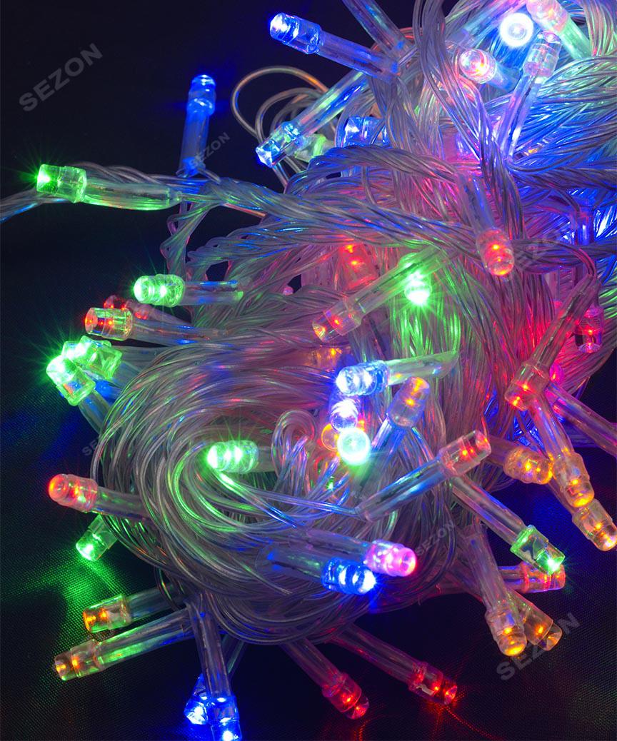 200 LED, мульті              (прозорий провід)
