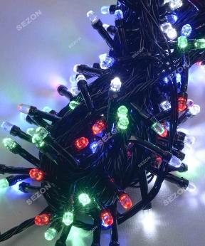 Купить РУБІНКА 100 LED, чорний провід,   мульті