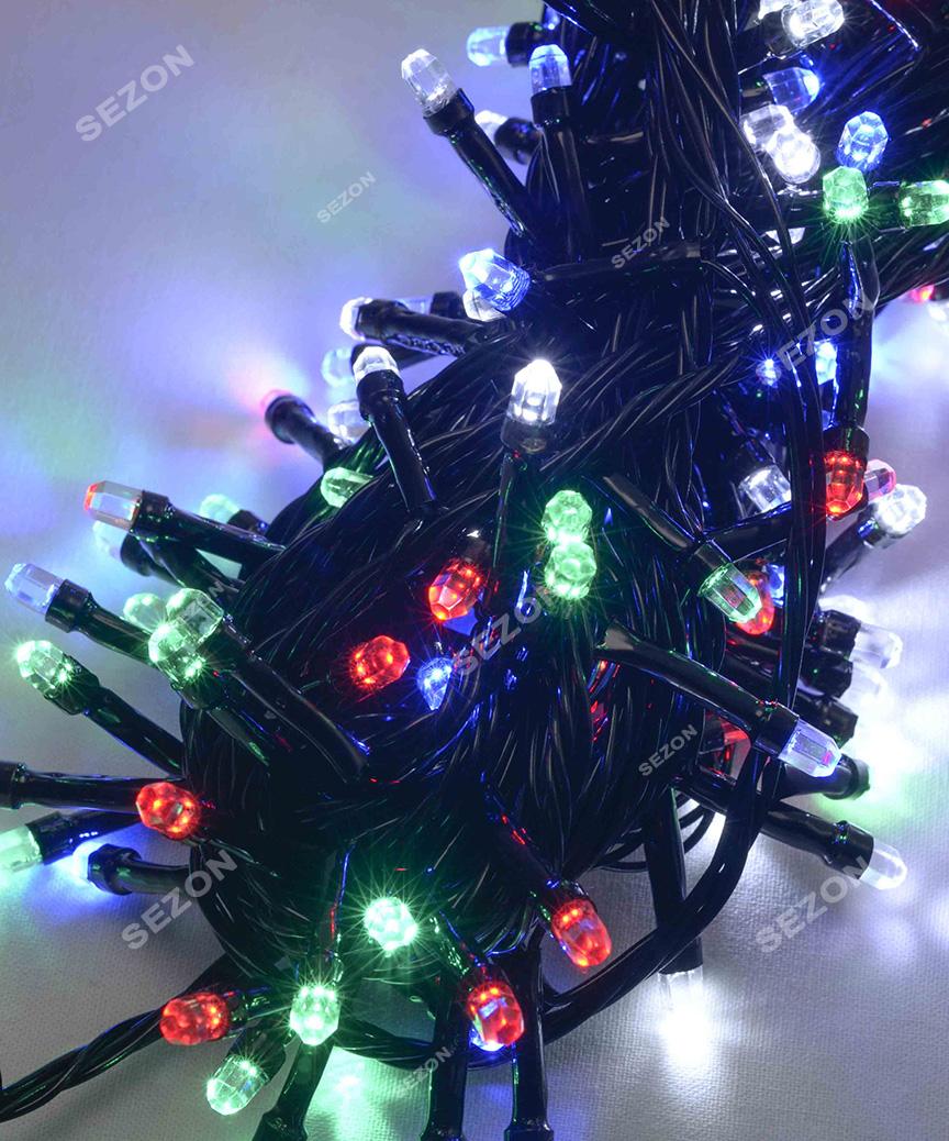 РУБІНКА 100 LED, чорний провід,   мульті