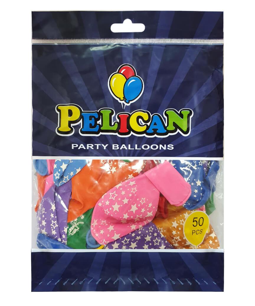Шарики Pelican 12' (30 см), цвета микс - звездочки большие 1250-504, 50шт/уп