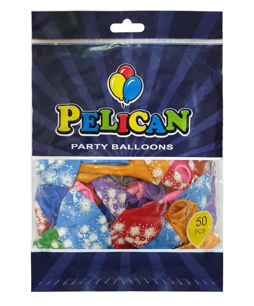 Шарики Pelican 12' (30 см), цвета микс - HAPPY BIRTHDAY 1250-508, 50шт/уп