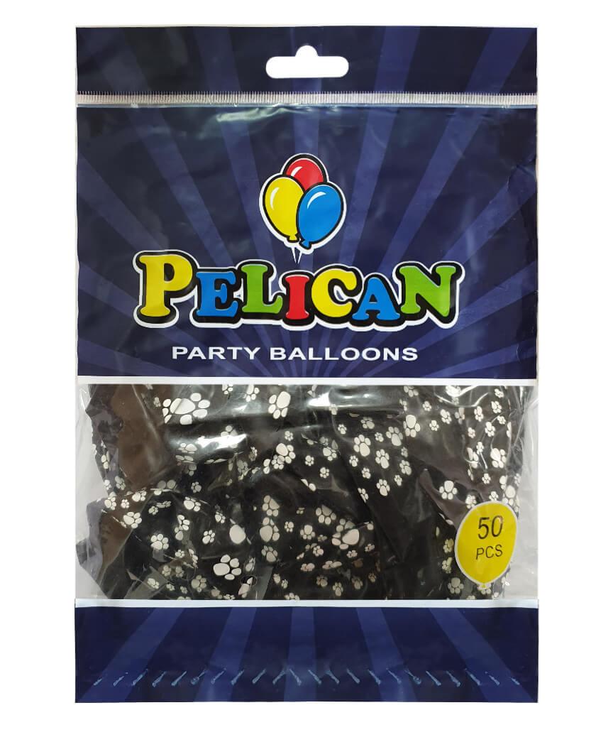 Шарики Pelican 12' (30 см), черный - лапки 1250-516, 50шт/уп
