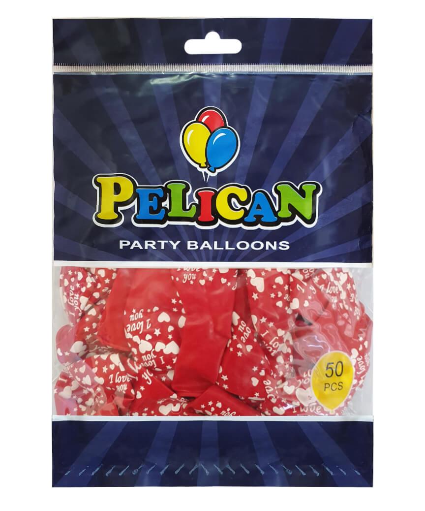 Шарики Pelican 12' (30 см), красный - I love you 1250-517, 50шт/уп