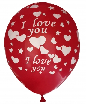 Купить Шарики Pelican 12' (30 см), красный - I love you 1205-517, 5шт/уп