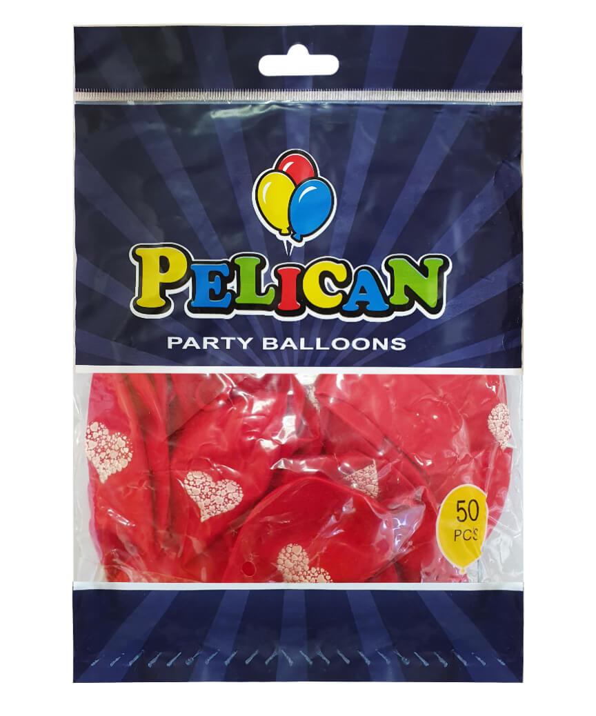 Шарики Pelican 12' (30 см), красный - сердечко 1250-518, 50шт/уп