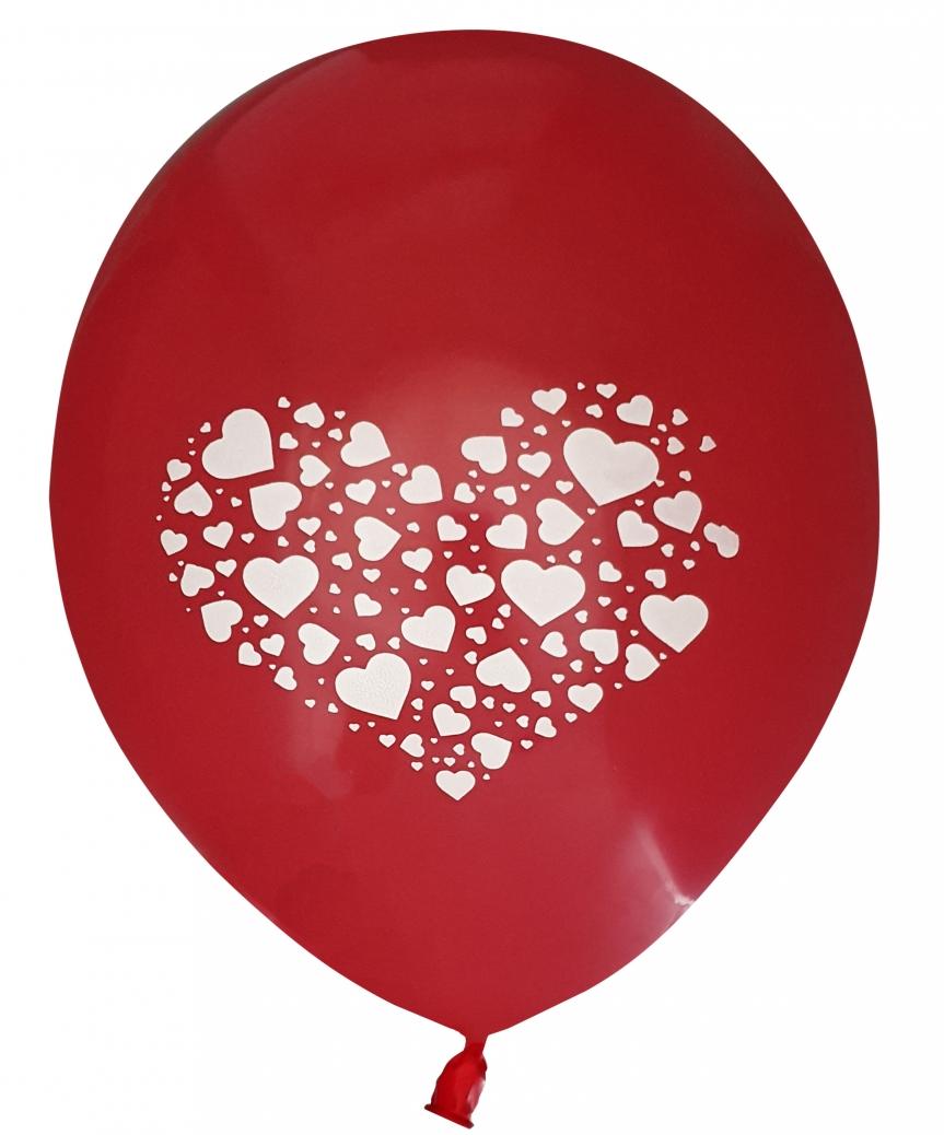 Шарики Pelican 12' (30 см), красный - сердечко 1205-518, 5шт/уп