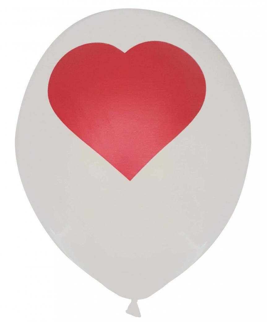 Шарики Pelican 12' (30 см), белый - сердечко 1250-519, 50шт/уп