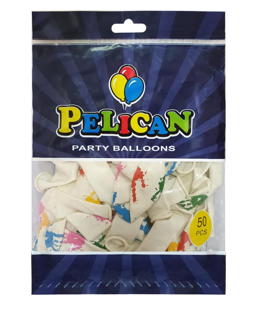 Шарики Pelican 12' (30 см), белый - ладошки 1250-521, 50шт/уп