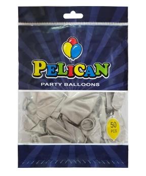 Купить Шарики Pelican 12' (30 см), хром серебро, 50шт/уп