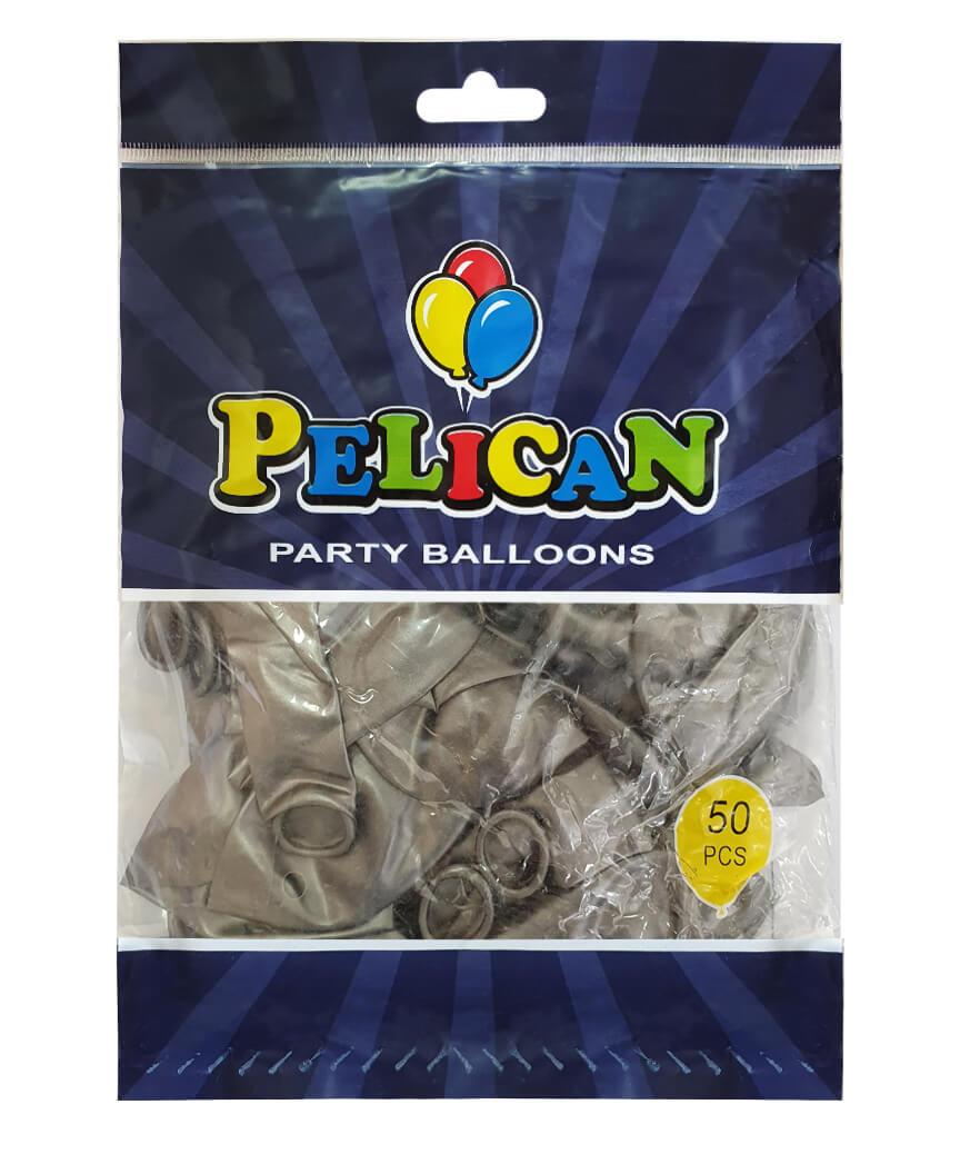 Шарики Pelican 12' (30 см), перламутр серебро 1250-744, 50шт/уп