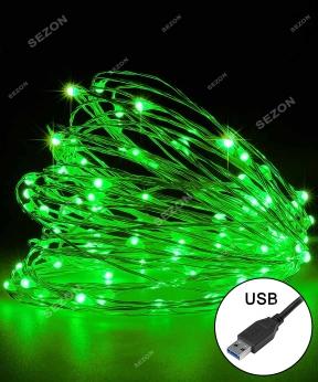 Купить РОСА 100 LED,  220В +USB  10м, зелений