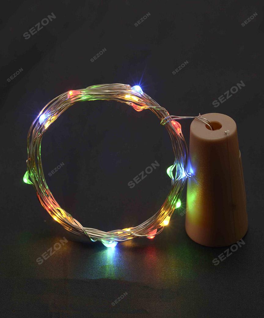 ПРОБКА-РОСА на батарейках 20 LED, 2м, мульті