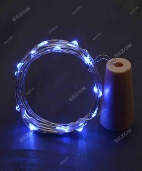 Купить ПРОБКА-РОСА на батарейках 20 LED, 2м, синій