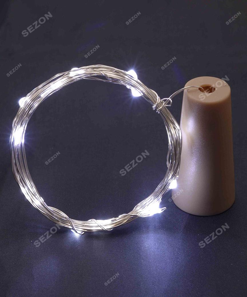 ПРОБКА-РОСА на батарейках 20 LED, 2м,  білий