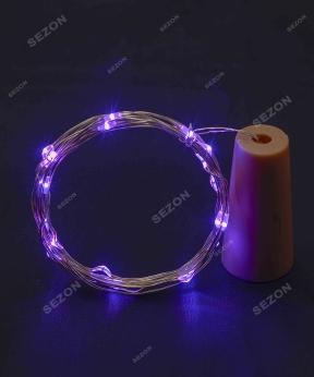 Купить НА БАТАРЕЙКАХ ПРОБКА-РОСА 20 LED, 2м, фіолетовий