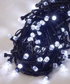 Купить РУБІН 8мм 500 LED, чорний провід 28м, БІЛИЙ