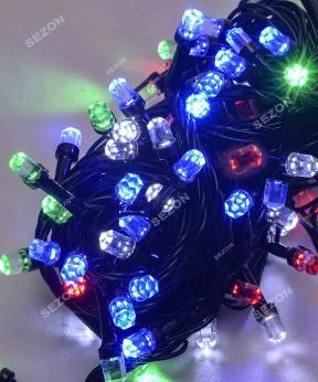 Купить РУБІН 8мм 300 LED, чорний провід 20м, мульті (двоколірна лампочка)