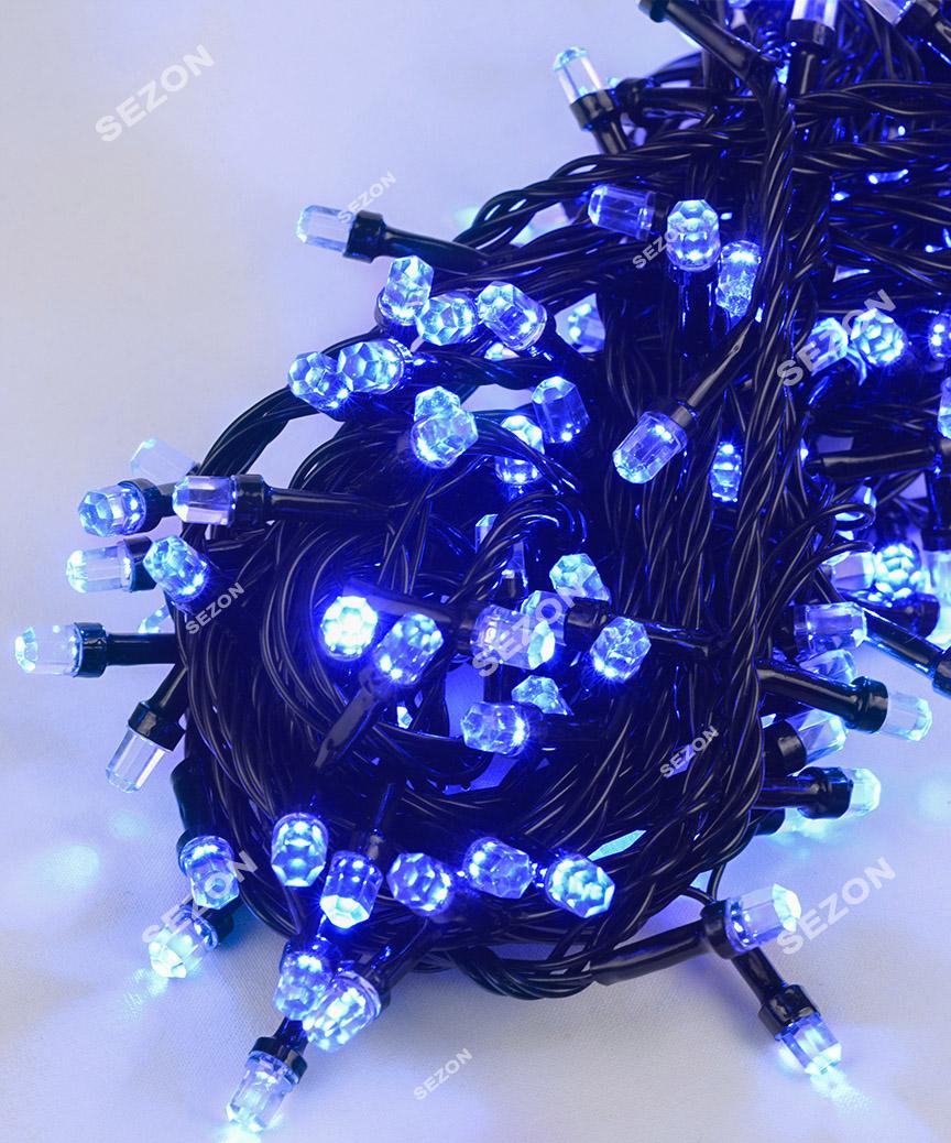 РУБІН 8мм 300 LED, чорний провід 20м, синій