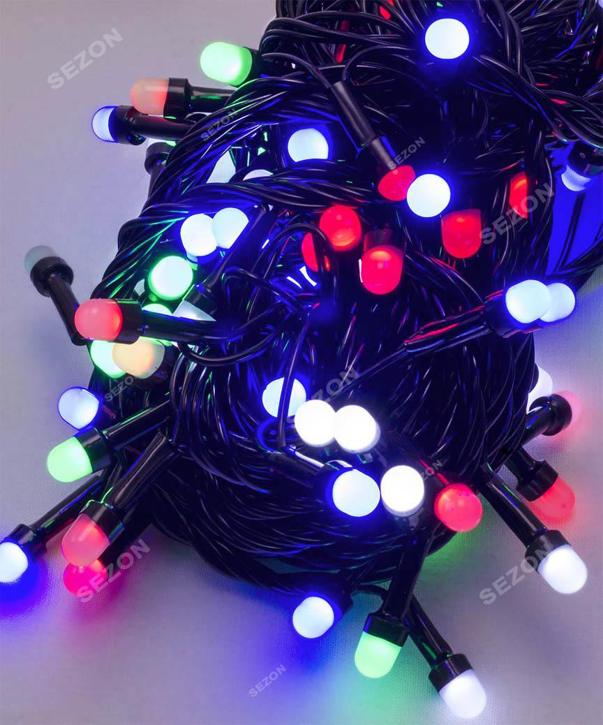 Лінза 8мм 200 LED, чорний провід 13м,  мульті