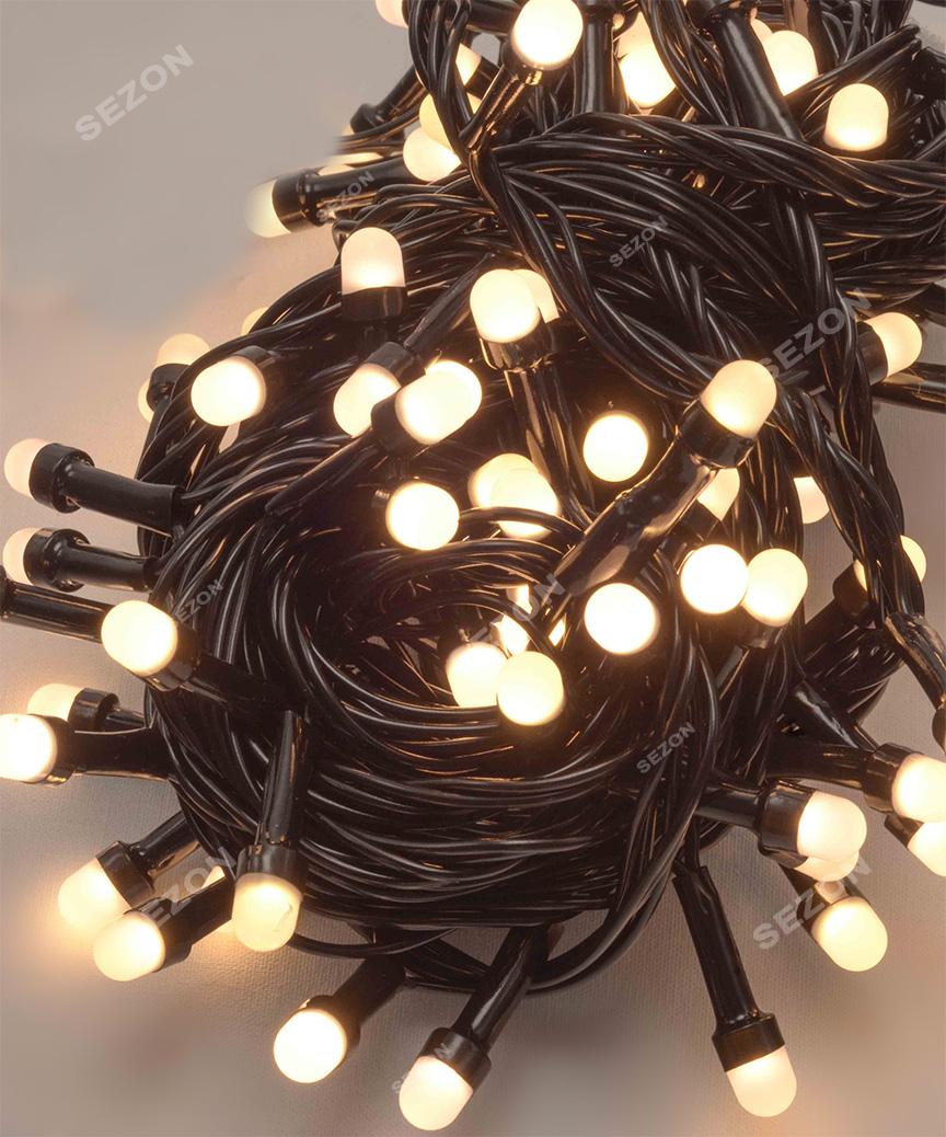 Лінза 200 LED, чорний провід, 10м білий теплий