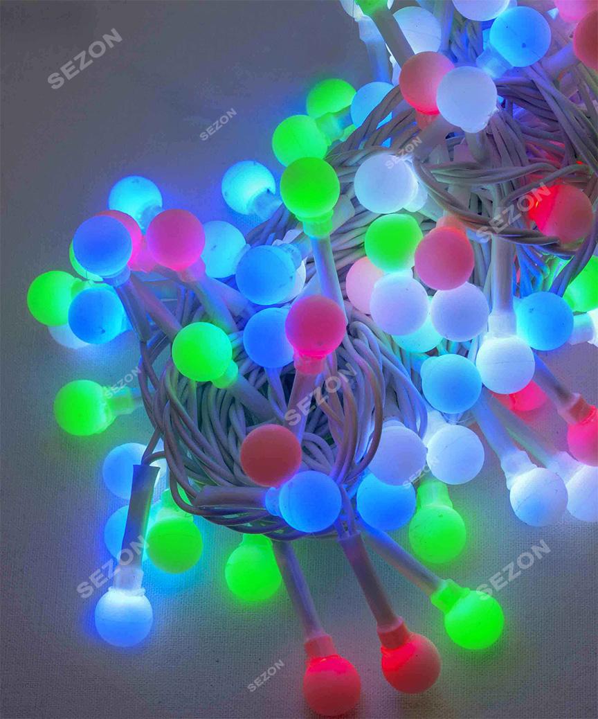 Кульки 10мм  100 LED білий провід  6м  мульті