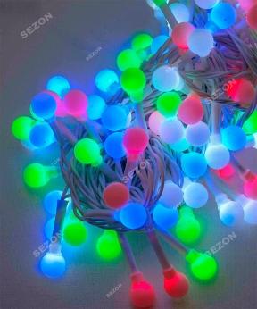 Купить Кульки 10мм  200 LED білий провід  10м  мульті