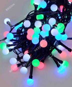 Купить Кульки 10мм  200 LED  чорний провід 10м мульті