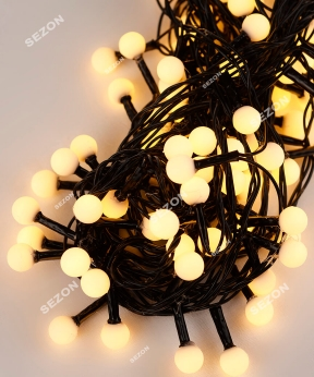 Купить Кульки 10мм 100 LED 6м  чорний провід, білий теплий