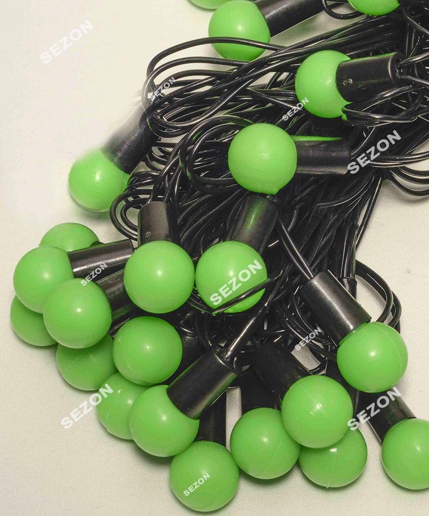 Кульки  18мм 40 LED, 7м+ перехідник, зелений