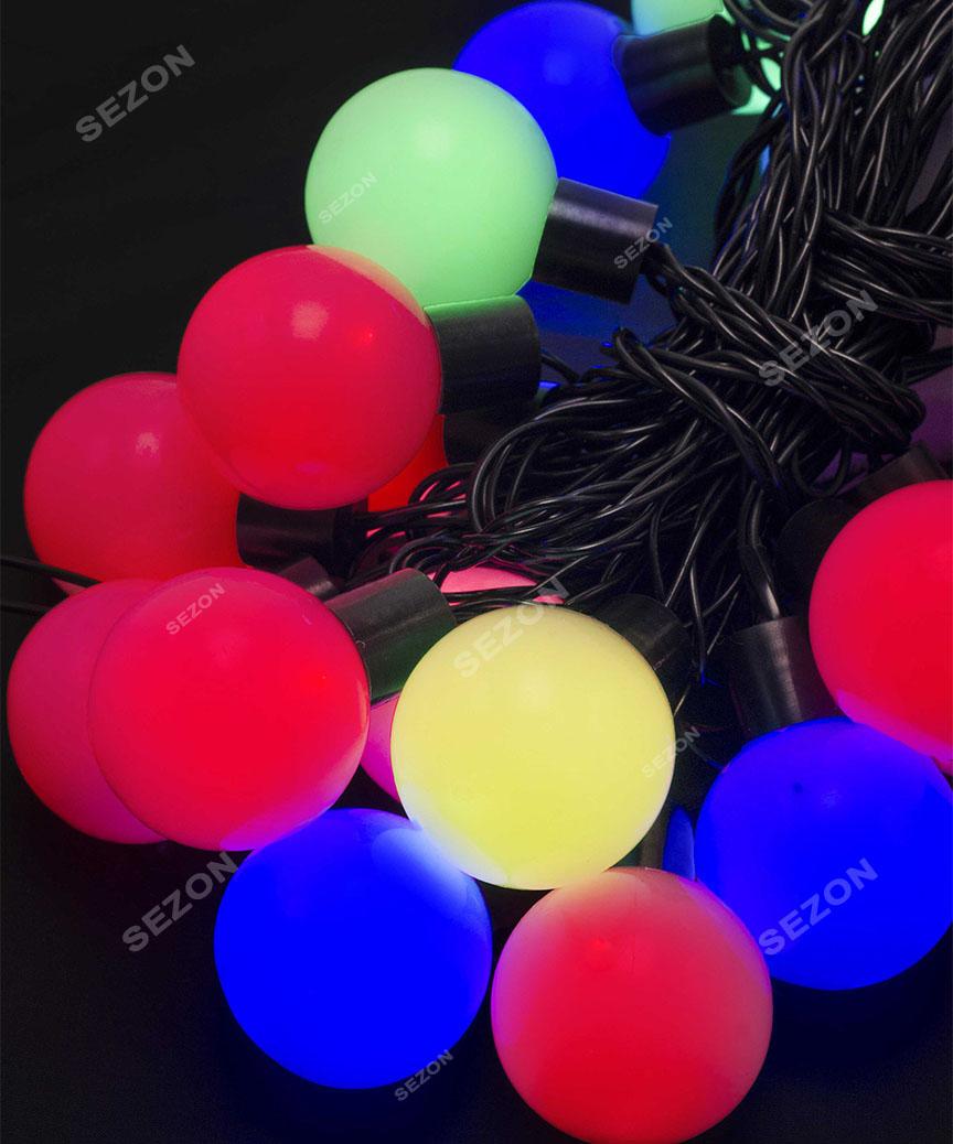 Кульки  42мм 20 LED, 7м+ перехідник,  мульті