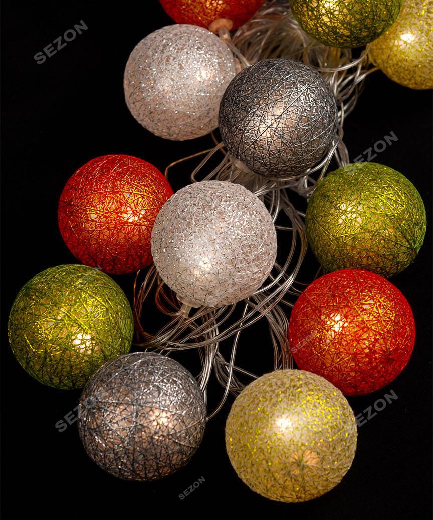 Кульки з ниток 50мм кольорові 12 LED 4м+ перехідник, теплий білий