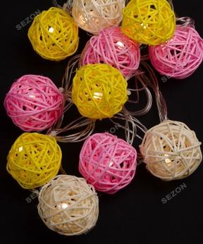Купить Кульки ротангові кольорові 12 LED  4м+ перехідник, теплий білий