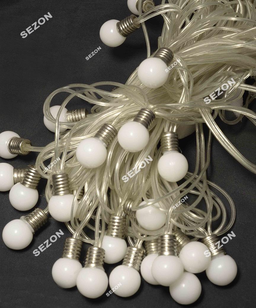ЛАМПОЧКИ 18мм 20 LED, 7м+ перехідник,   теплий білий