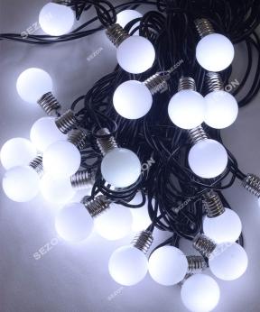Купить ЛАМПОЧКИ 25мм, 30 LED 7м+ перехідник,   білий