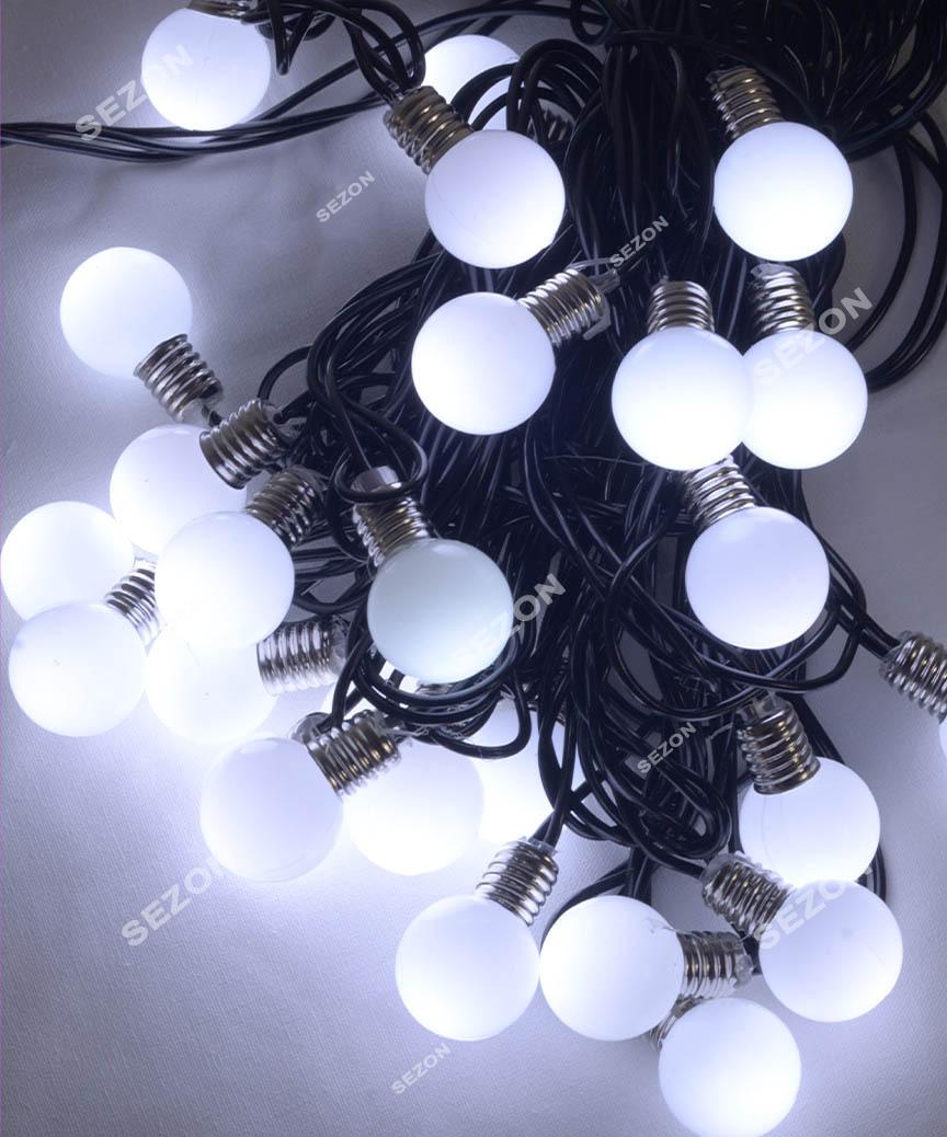 ЛАМПОЧКИ 25мм, 30 LED 7м+ перехідник,   білий