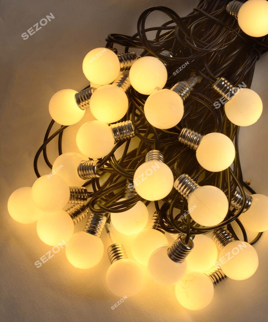 ЛАМПОЧКИ 25мм 30 LED, 7м+ перехідник,   теплий білий