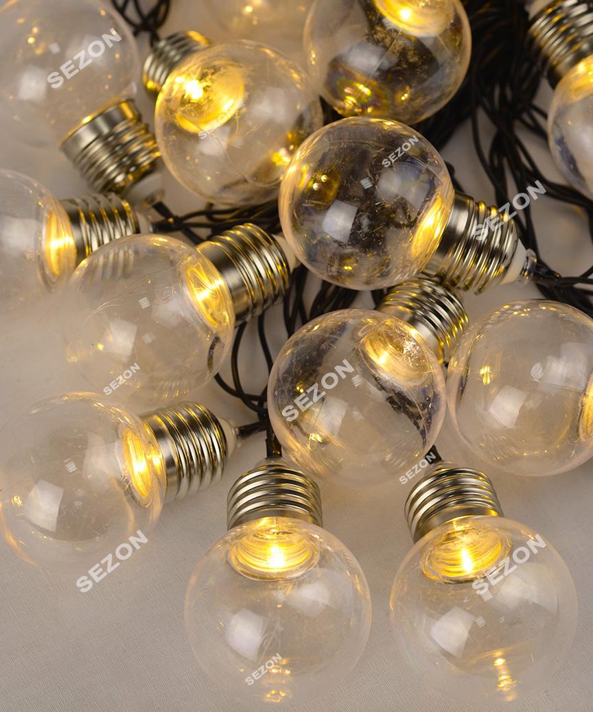ЛАМПОЧКИ 50мм прозорі,  20 LED, 7м,   білий теплий