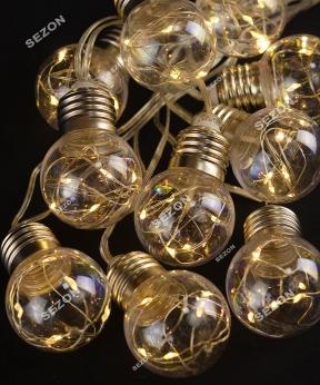 Купить ЛАМПОЧКИ 40мм+РОСА, 10шт, 50 LED, 5м, теплий білий
