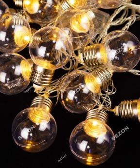 Купить ЛАМПОЧКИ 40мм,  20 LED, 7м,   білий теплий