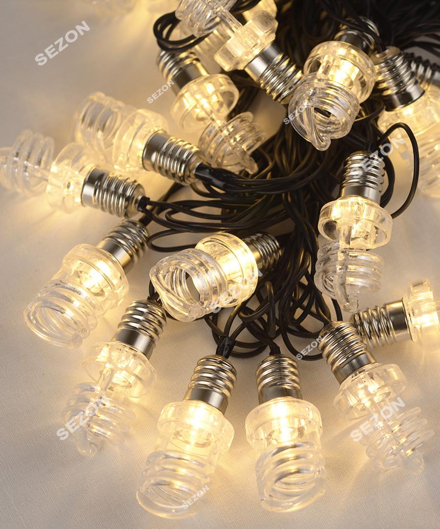 ЛАМПОЧКА-ПРУЖИНА  20 LED, 7м,   білий теплий