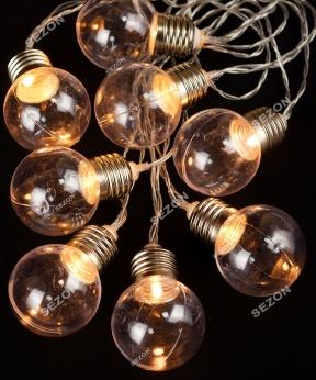 Купить Лампочки 40мм на батарейках+USB,  10 LED  3м,   білий теплий