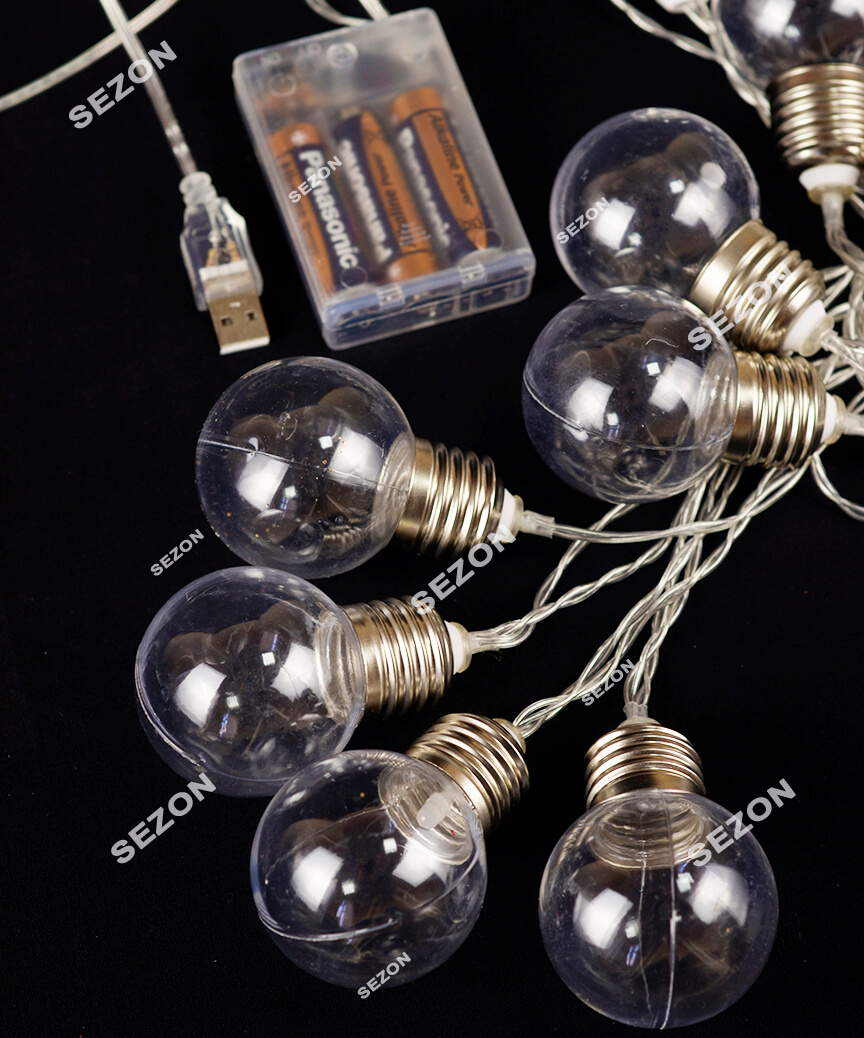 Лампочки 40мм на батарейках+USB,  10 LED  3м,   білий теплий
