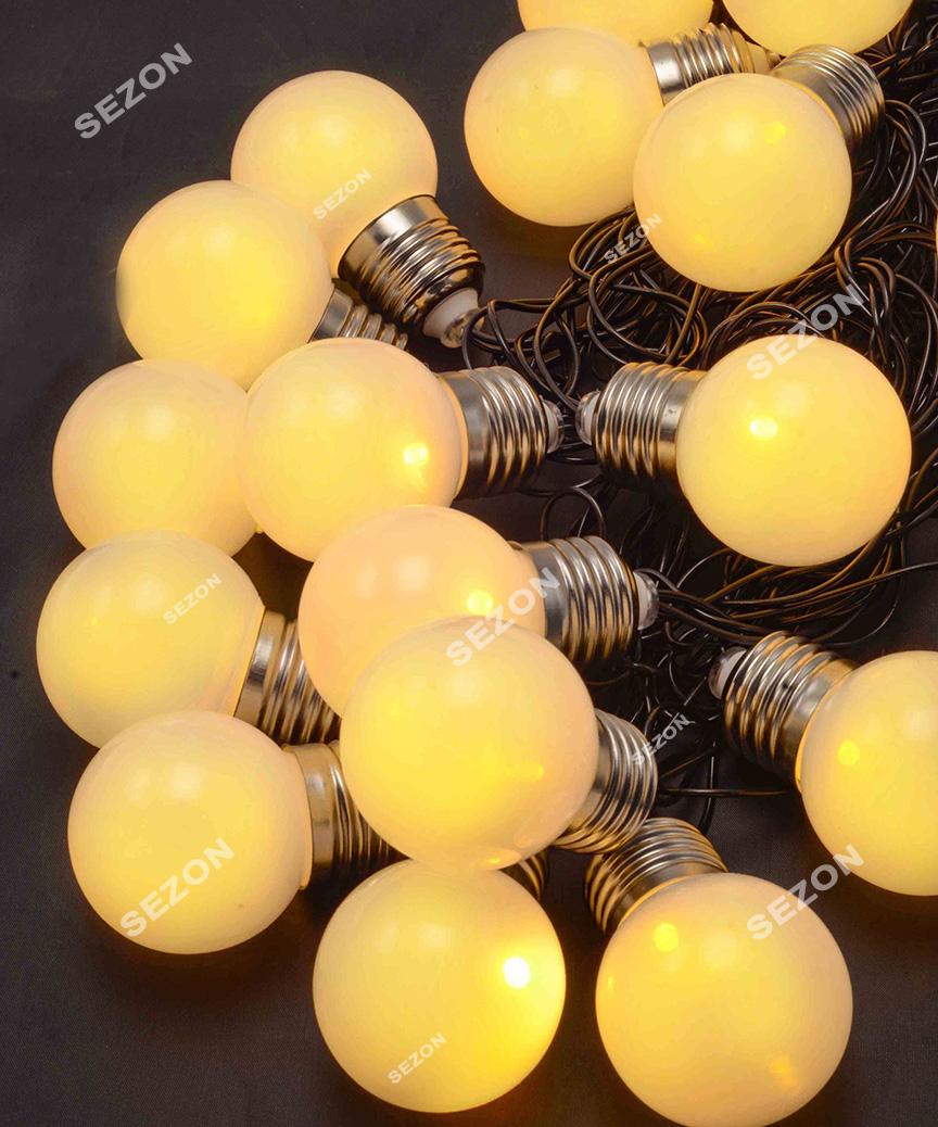 ЛАМПОЧКИ 50мм матові, 20 LED чорн/провід  7м,  білий теплий