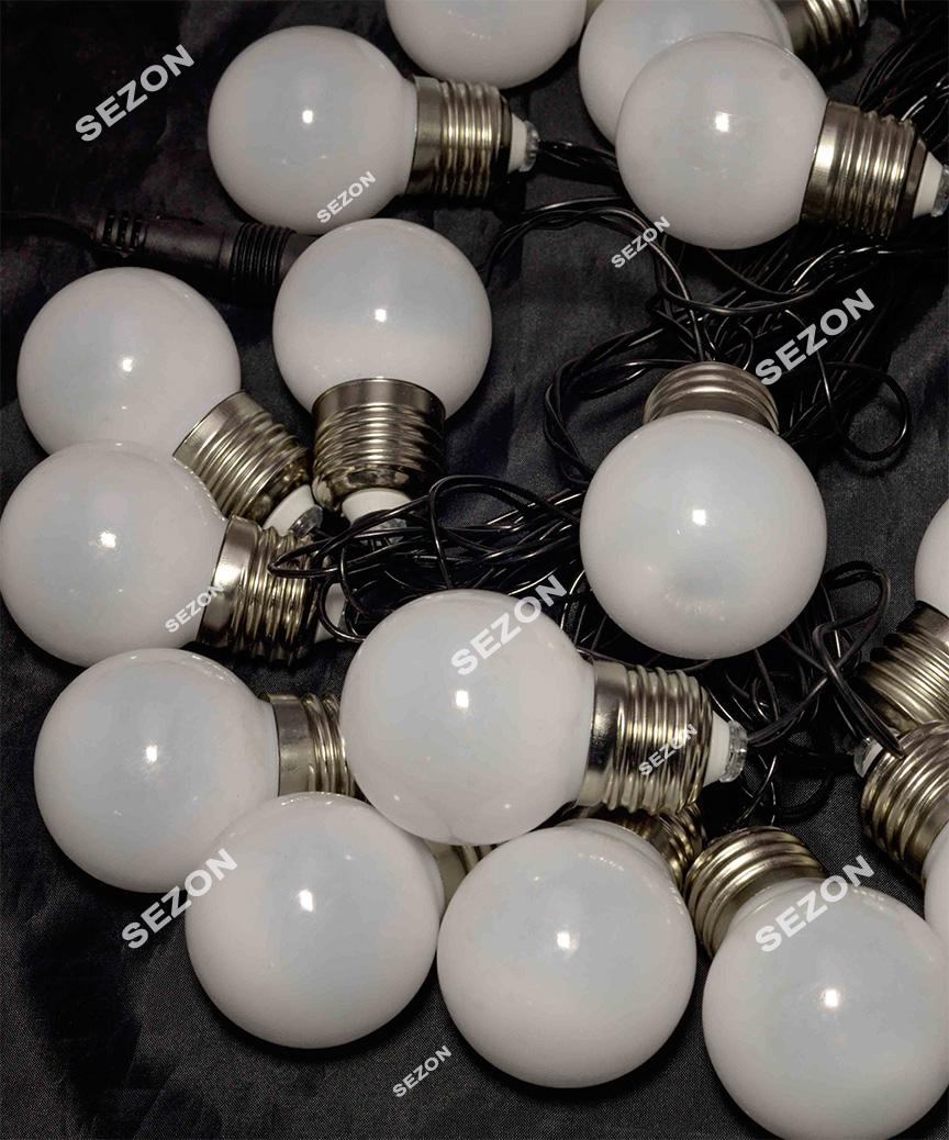ЛАМПОЧКИ 50мм матові, 20 LED чорн/провід 7м,  мульті RB/RG